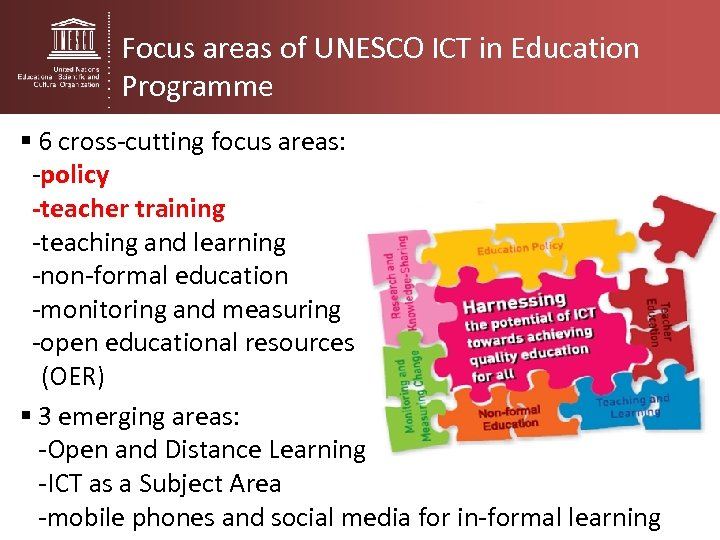 Focus areas of UNESCO ICT in Education Programme § 6 cross-cutting focus areas: -policy