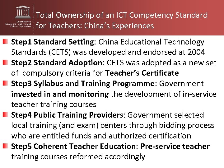 Total Ownership of an ICT Competency Standard for Teachers: China's Experiences Step 1 Standard