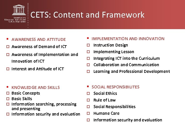 CETS: Content and Framework § AWARENESS AND ATTITUDE § IMPLEMENTATION AND INNOVATION p Awareness