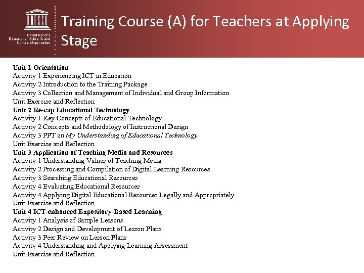 Training Course (A) for Teachers at Applying Stage Unit 1 Orientation Activity 1 Experiencing
