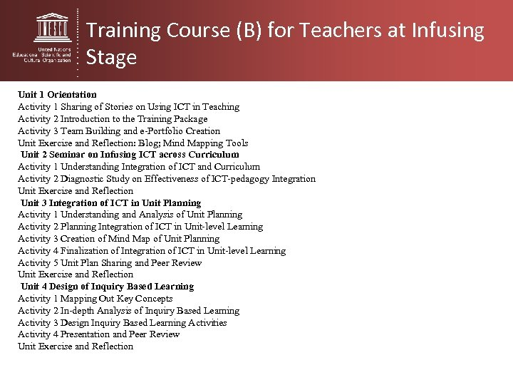Training Course (B) for Teachers at Infusing Stage Unit 1 Orientation Activity 1 Sharing