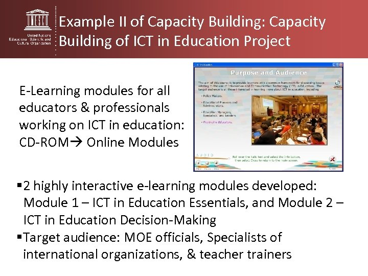 Example II of Capacity Building: Capacity Building of ICT in Education Project E-Learning modules