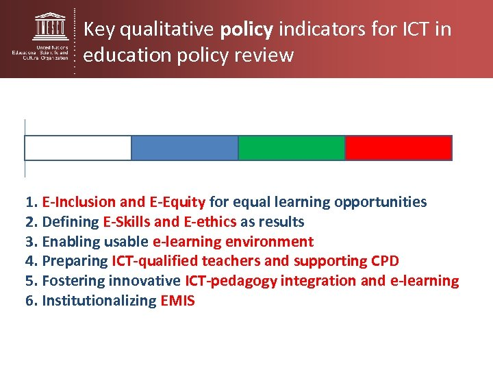 Key qualitative policy indicators for ICT in education policy review 1. E-Inclusion and E-Equity