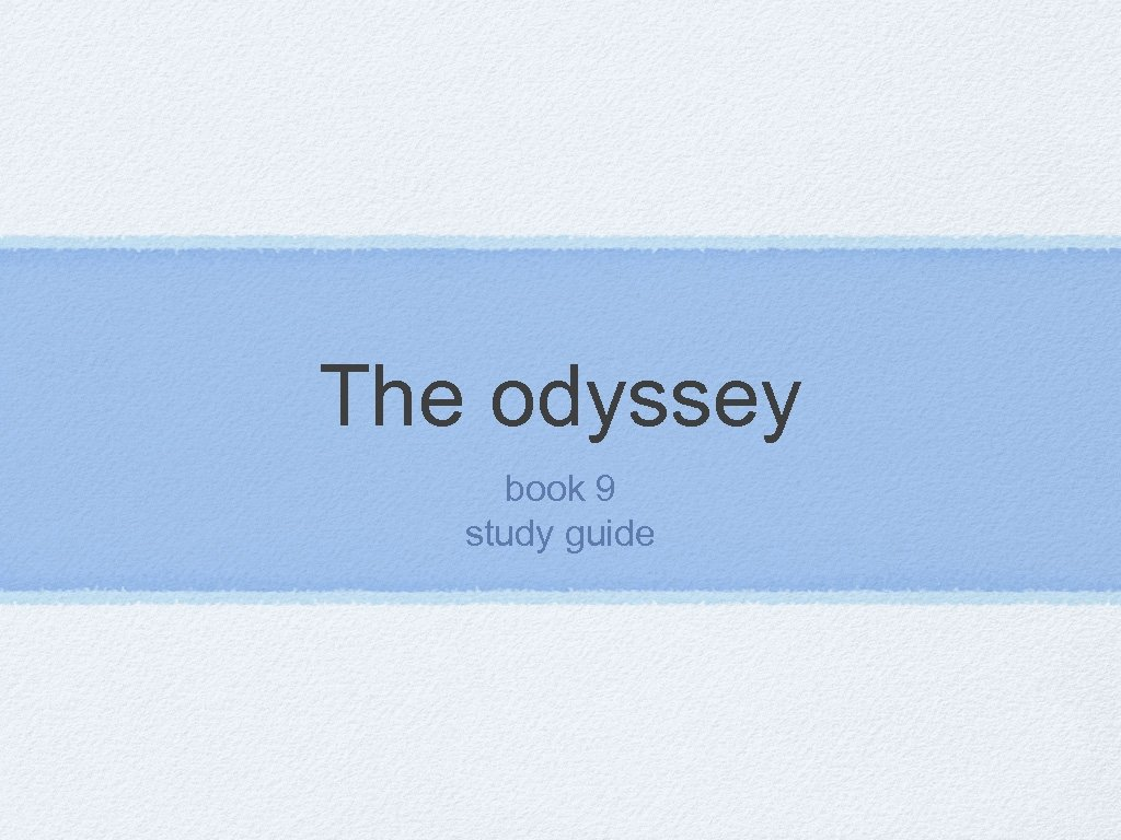 The odyssey book 9 study guide