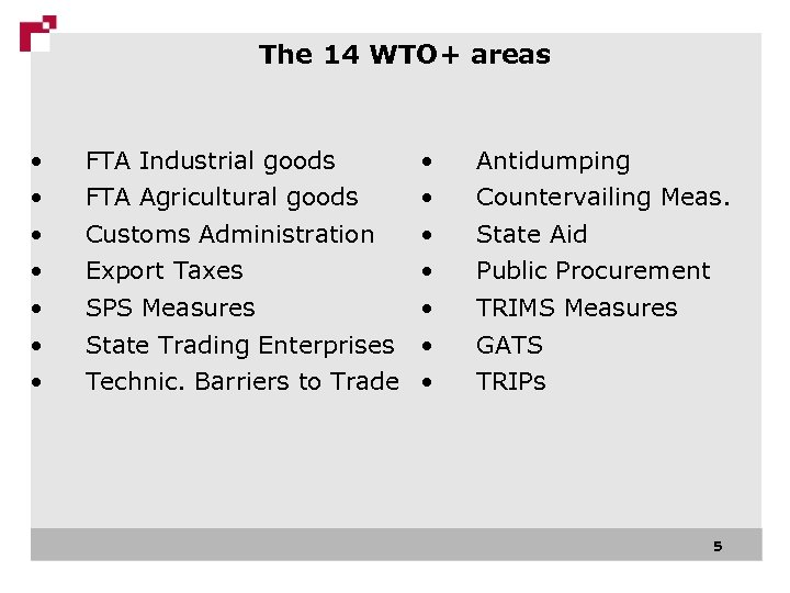 The 14 WTO+ areas • FTA Industrial goods • FTA Agricultural goods • Customs