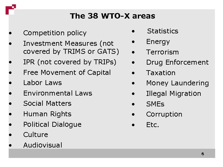 The 38 WTO-X areas • • Competition policy • • • IPR (not covered