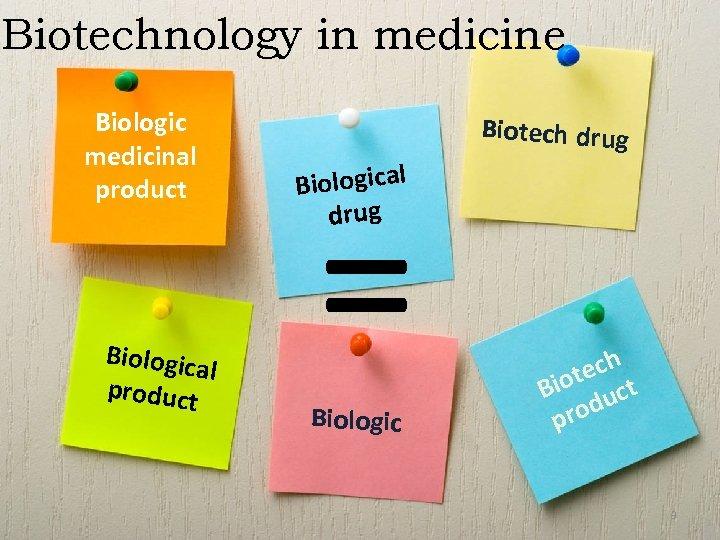 Biotechnology in medicine Biologic medicinal product Biologic al product = Biotech drug Biological drug