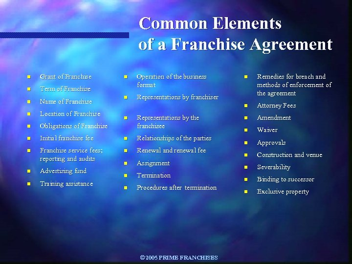 Common Elements of a Franchise Agreement n Grant of Franchise n Operation of the