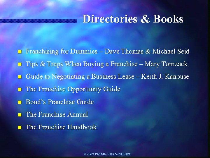 Directories & Books n Franchising for Dummies – Dave Thomas & Michael Seid n