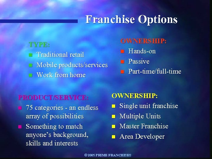 Franchise Options TYPE: n Traditional retail n Mobile products/services n Work from home PRODUCT/SERVICE:
