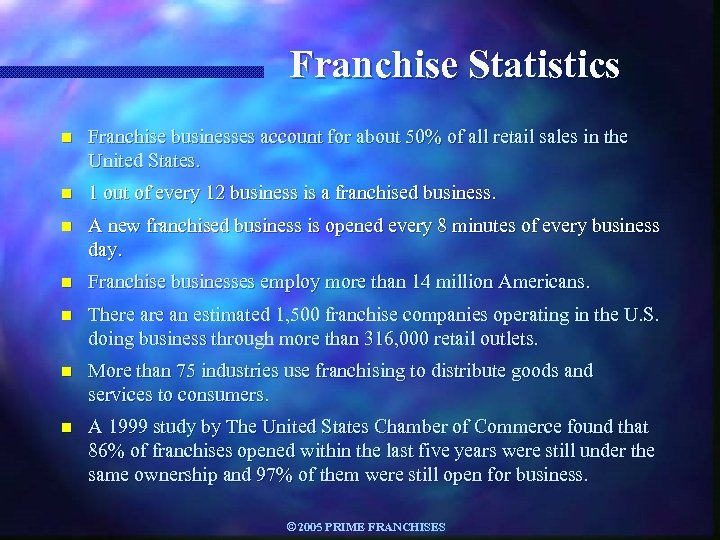Franchise Statistics n Franchise businesses account for about 50% of all retail sales in