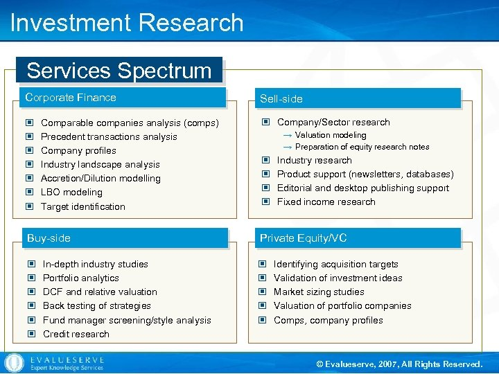 Investment Research Services Spectrum Corporate Finance © © © © Comparable companies analysis (comps)