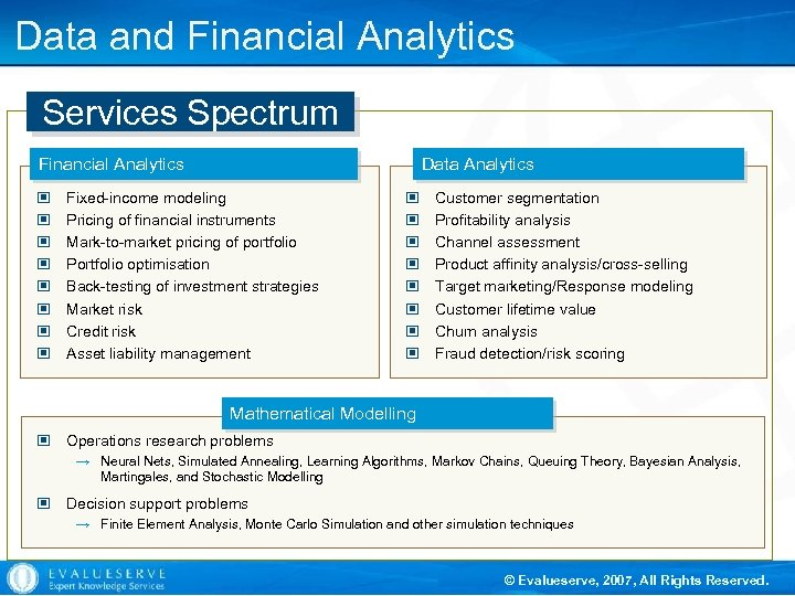 Data and Financial Analytics Services Spectrum Financial Analytics © © © © Data Analytics