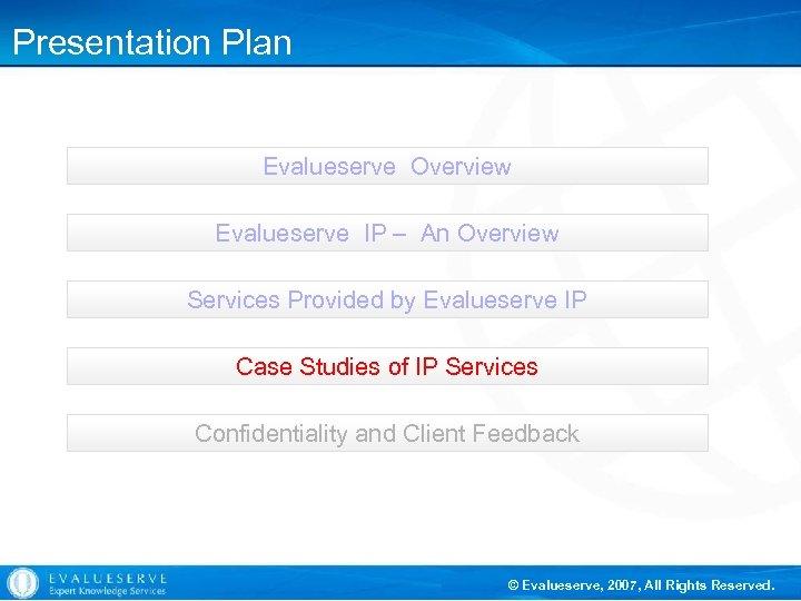 Presentation Plan Evalueserve Overview Evalueserve IP – An Overview Services Provided by Evalueserve IP