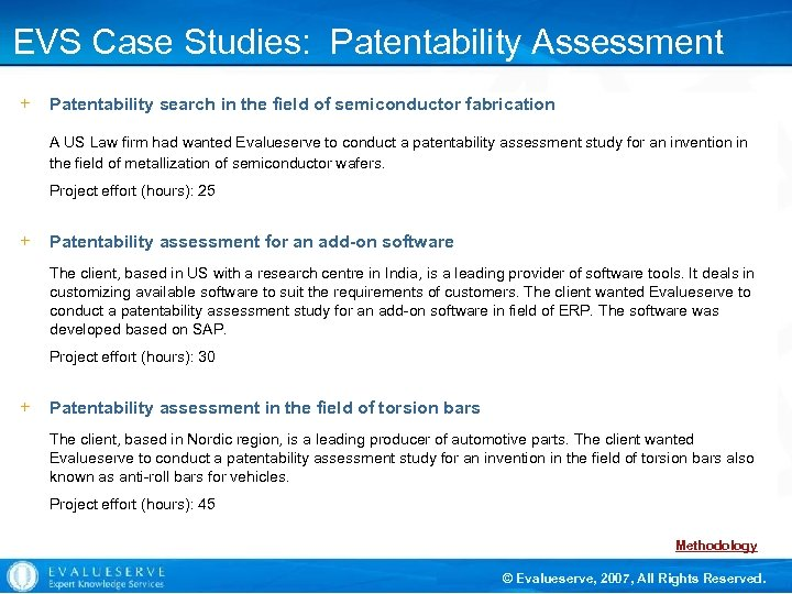 EVS Case Studies: Patentability Assessment + Patentability search in the field of semiconductor fabrication