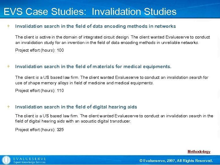 EVS Case Studies: Invalidation Studies + Invalidation search in the field of data encoding