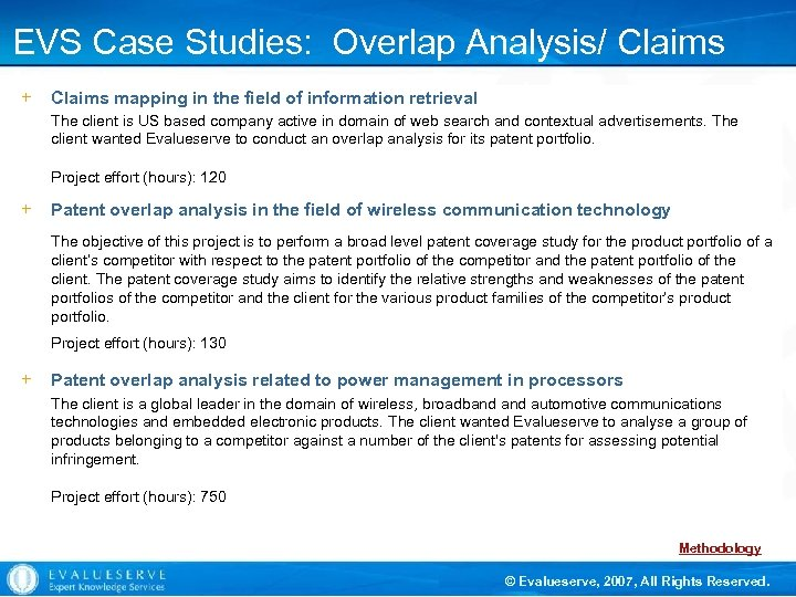 EVS Case Studies: Overlap Analysis/ Claims Mapping in the field of information retrieval +