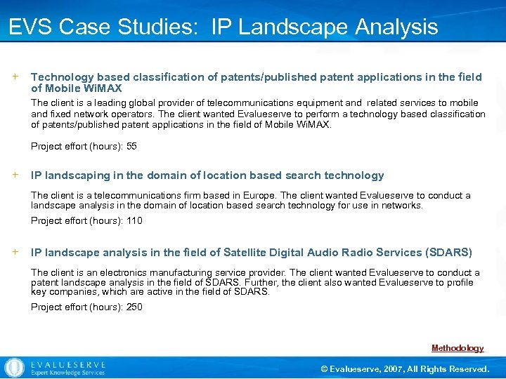 EVS Case Studies: IP Landscape Analysis + Technology based classification of patents/published patent applications