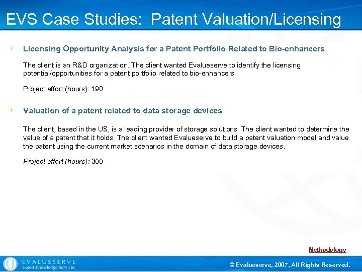 EVS Case Studies: Patent Valuation/Licensing Support Opportunity Analysis for a Patent Portfolio Related to