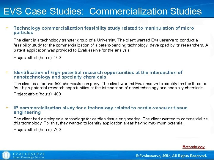 EVS Case Studies: Commercialization Studies + Technology commercialization feasibility study related to manipulation of