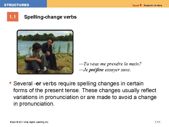 1. 1 Spelling-change verbs —Tu veux me prendre la main? —Je préfère essayer sans.