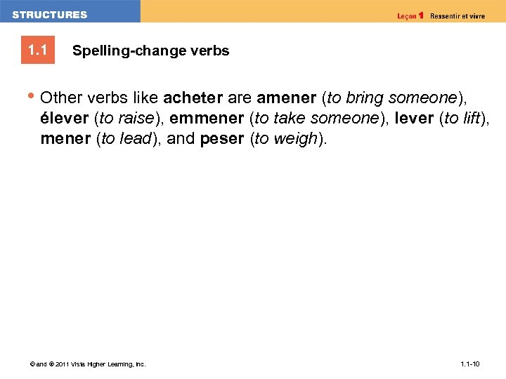 1. 1 Spelling-change verbs • Other verbs like acheter are amener (to bring someone),