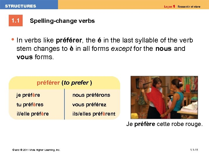 1. 1 Spelling-change verbs • In verbs like préférer, the é in the last