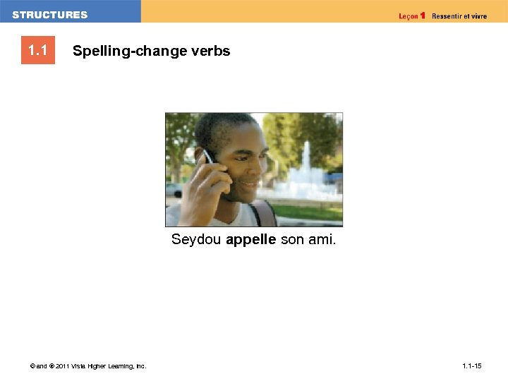 1. 1 Spelling-change verbs Seydou appelle son ami. © and ® 2011 Vista Higher