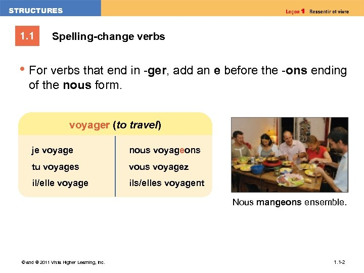 1. 1 Spelling-change verbs • For verbs that end in -ger, add an e