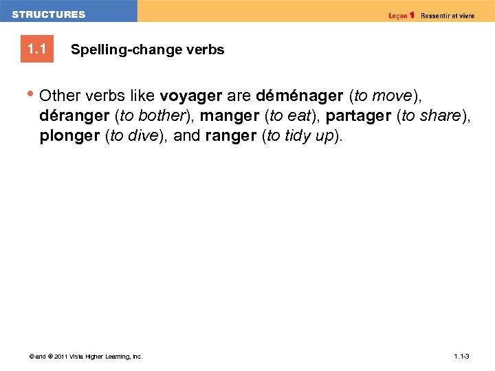 1. 1 Spelling-change verbs • Other verbs like voyager are déménager (to move), déranger