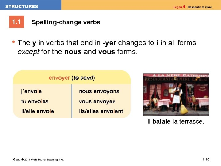 1. 1 Spelling-change verbs • The y in verbs that end in -yer changes