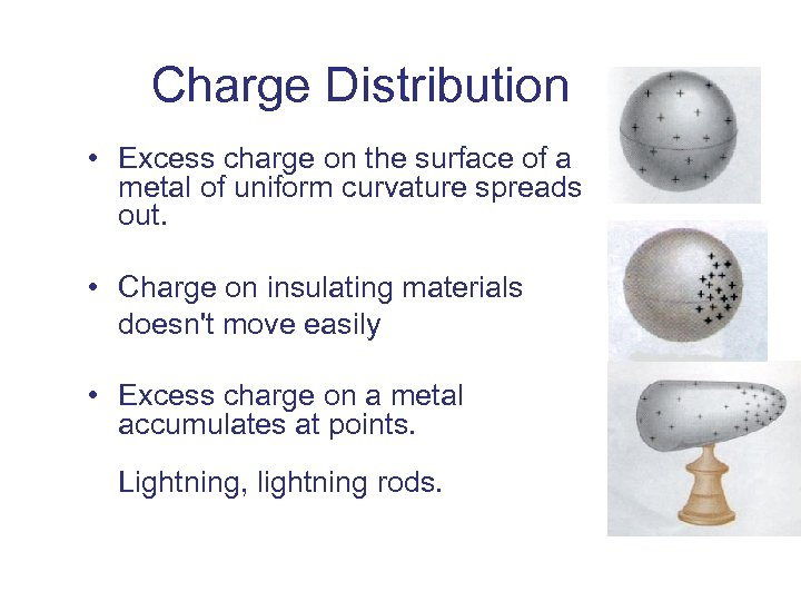 Charge Distribution • Excess charge on the surface of a metal of uniform curvature