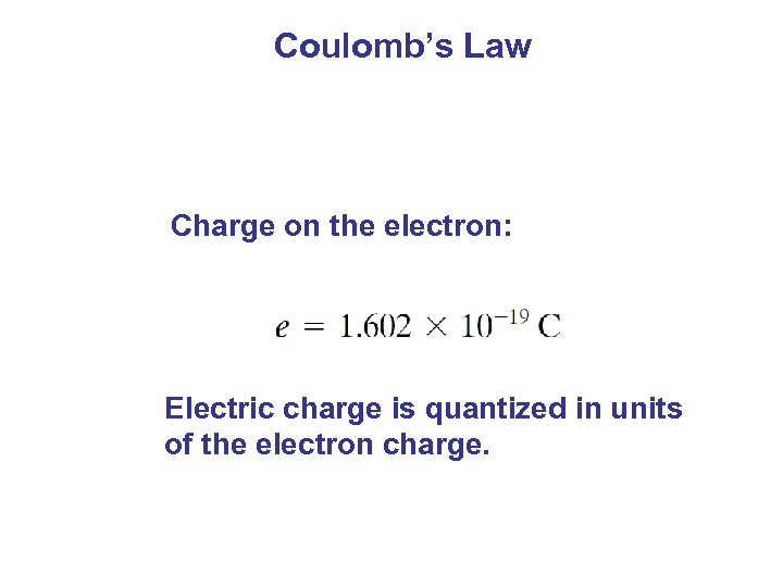 Coulomb's Law Charge on the electron: Electric charge is quantized in units of