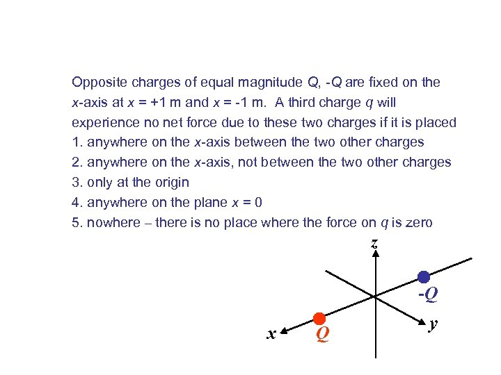 Opposite charges of equal magnitude Q, -Q are fixed on the x-axis at x