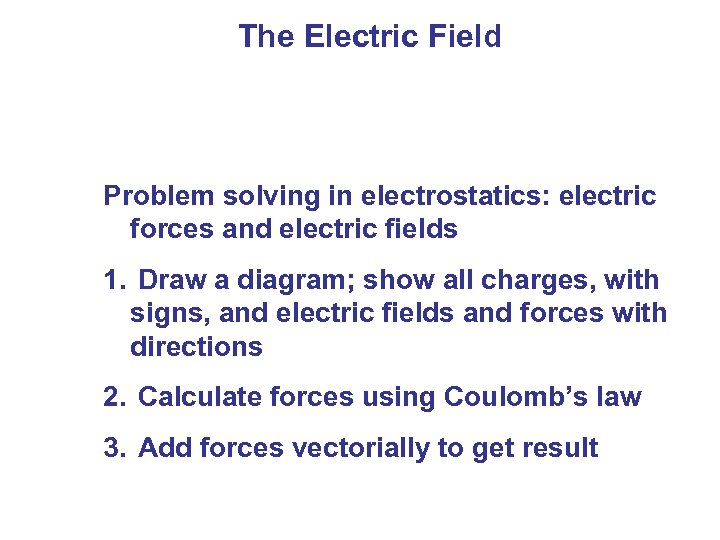The Electric Field Problem solving in electrostatics: electric forces and electric fields 1.