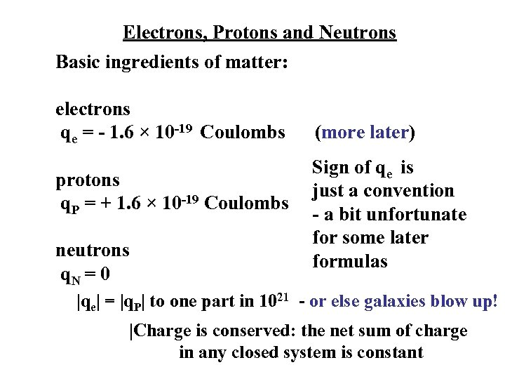 Electrons, Protons and Neutrons Basic ingredients of matter: electrons qe = - 1. 6
