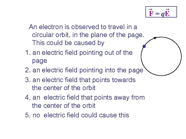 F = q. E An electron is observed to travel in a circular orbit,
