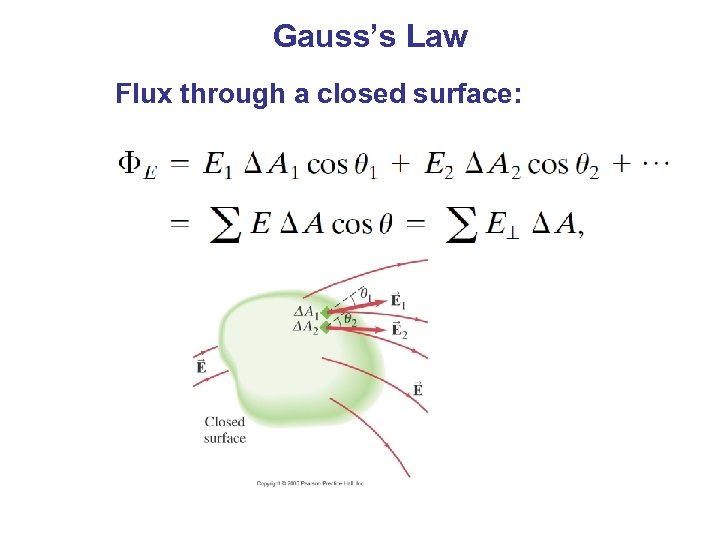 Gauss's Law Flux through a closed surface:
