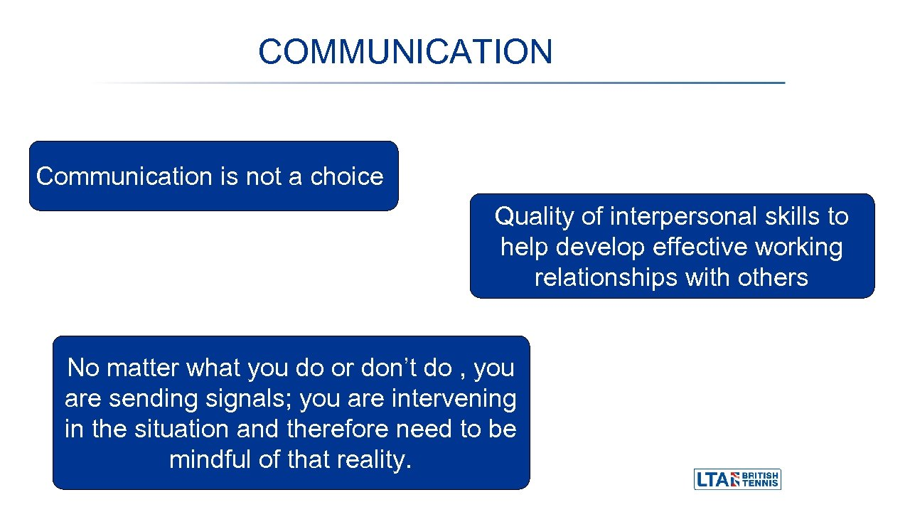 COMMUNICATION Communication is not a choice Quality of interpersonal skills to help develop effective
