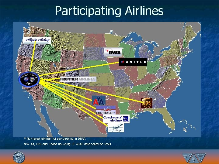Participating Airlines * ** ** * Northwest airlines not participating in DNAA ** AA,