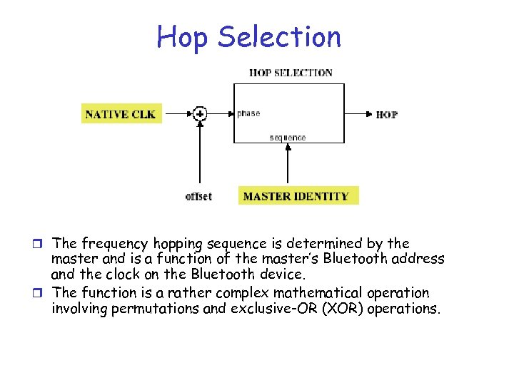 Hop Selection r The frequency hopping sequence is determined by the master and is
