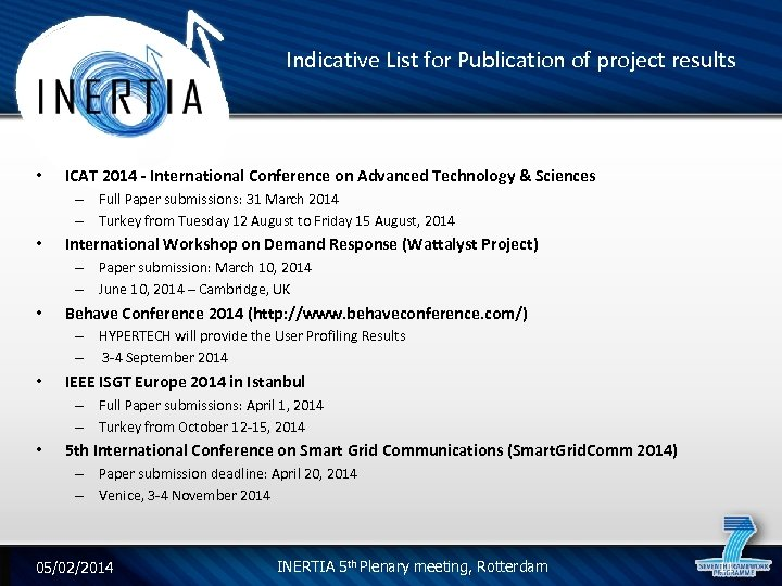 Indicative List for Publication of project results • ICAT 2014 - International Conference on