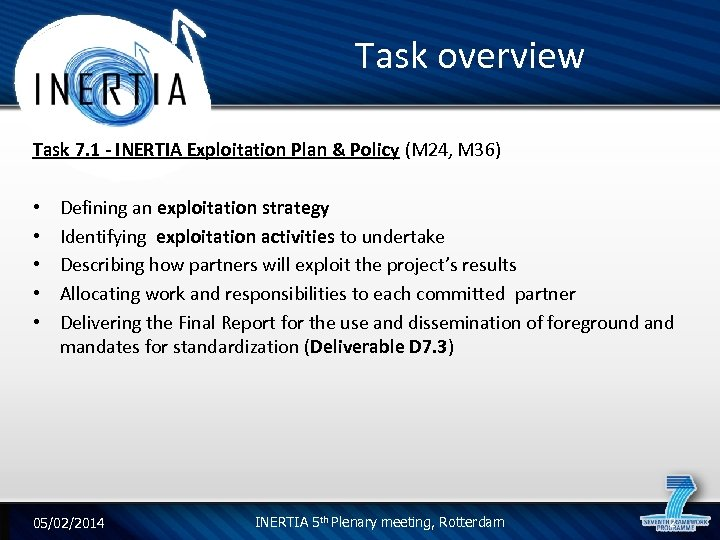 Task overview Task 7. 1 - INERTIA Exploitation Plan & Policy (M 24, M