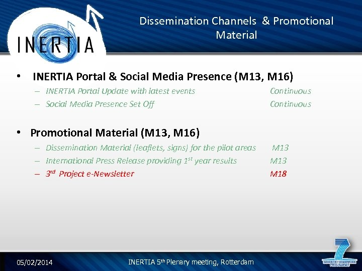 Dissemination Channels & Promotional Material • INERTIA Portal & Social Media Presence (M 13,