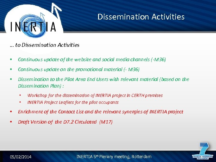 Dissemination Activities … to Dissemination Activities • Continuous update of the website and social