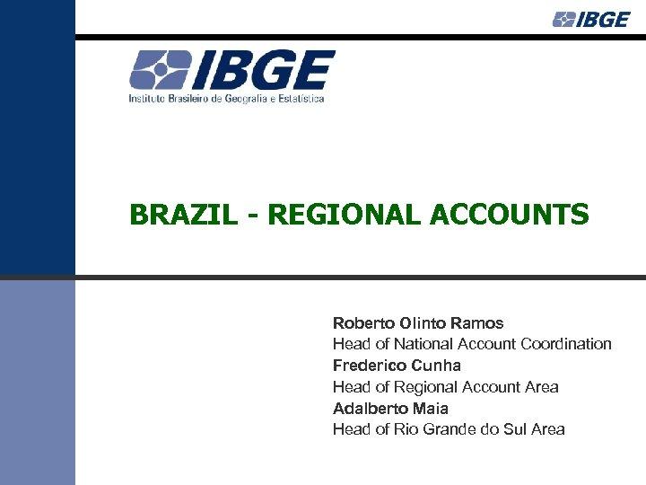 BRAZIL - REGIONAL ACCOUNTS Roberto Olinto Ramos Head of National Account Coordination Frederico Cunha