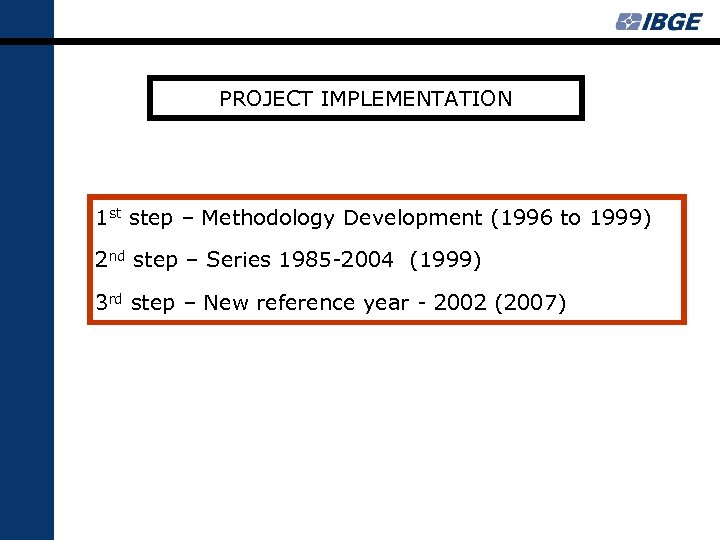 PROJECT IMPLEMENTATION 1 st step – Methodology Development (1996 to 1999) 2 nd step
