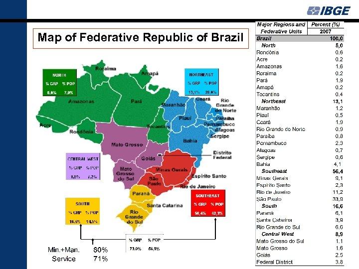 Map of Federative Republic of Brazil