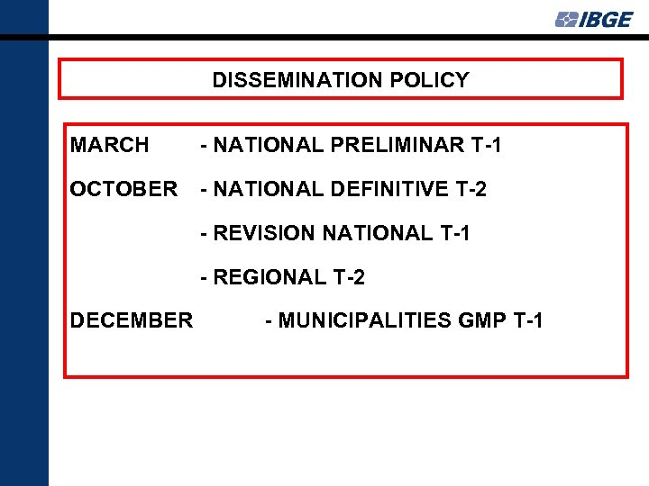 DISSEMINATION POLICY MARCH - NATIONAL PRELIMINAR T-1 OCTOBER - NATIONAL DEFINITIVE T-2 - REVISION