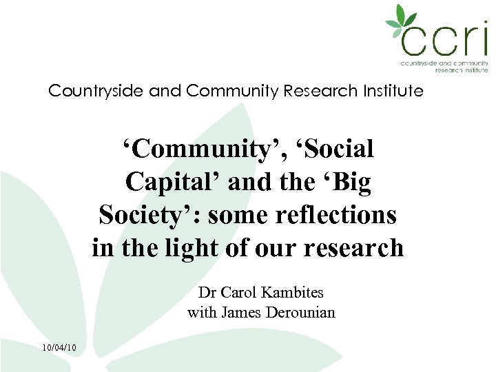 Countryside and Community Research Institute 'Community', 'Social Capital' and the 'Big Society': some reflections